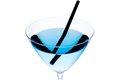 Detail of blue cocktail with black straw on a white background Royalty Free Stock Photo