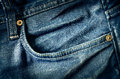 Detail of blue jeans pocket in vintage style Royalty Free Stock Photo