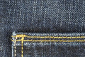 Detail of blue jeans trousers fabric with pocket Stock Photos
