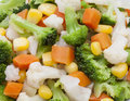 detail of broccoli, carrot, potato and corn kernels Royalty Free Stock Photo