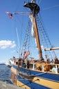 Detail of bulwarks and mast of tall ship near kirkland washington Stock Images