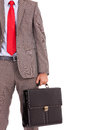 Detail of business man's suit and briefcase Stock Photos