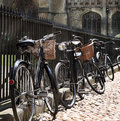 Detail of bycicles in the street Stock Photos