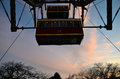 Detail of cabins Vienna giant wheel illuminated sunset in winter christmas Royalty Free Stock Photo