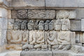 Detail of carved relief at borobudur java indonesia Stock Photography