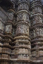 Detail of carving on a temple in Khajuraho Stock Photo