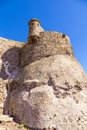 Detail of the castillo de santa barbara in lanzarote castle on guanapay mountain teguise canary islands spain Royalty Free Stock Photo