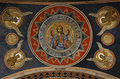 Ancient fresco detail from ceiling in Antim Monastery Royalty Free Stock Photo