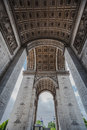 Detail of the ceiling and the columns of arch de triomphe in paris france Stock Image