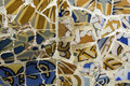 Detail of the ceramics from the Gaudi bench in par Stock Images