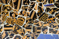 Detail of the ceramics from the Gaudi bench in par Royalty Free Stock Photography