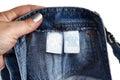 Detail of a children blue jeans label