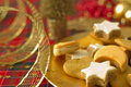 Detail of Christmas cookies with Xmas decoration Royalty Free Stock Photography