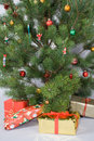 Detail of christmas tree with gifts Stock Photo