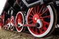 Detail and close up of huge wheels at one old german steam locomotive Royalty Free Stock Photo
