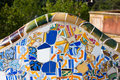 Detail closeup of mosaic in park guell barcelona spain Royalty Free Stock Image