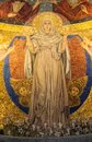 Detail of religious mosaic of young Virgin Mary Royalty Free Stock Photo