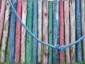 Detail of a colorful dilapidated playground Stock Photos