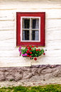 Detail of colorful window on old traditional house