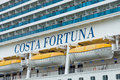 Detail of a cruise liner costa fortuna rostock germany august is ship destiny class length m capacity Royalty Free Stock Image