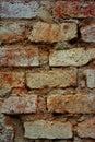 Detail of a crumbling brick wall Royalty Free Stock Photo