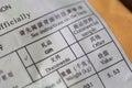 Detail of customs declaration on envelope Royalty Free Stock Photo