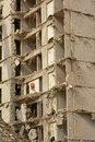 Detail of the demolition of  concrete apartment tower in rabot neihgborhood, Ghent Royalty Free Stock Photo