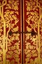 Detail door thailand bangkok red gold Royalty Free Stock Photo