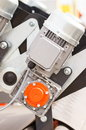 Detail of electric engine, part of electrical machinery, technology concept Royalty Free Stock Photo