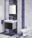 Detail of an elegant bathroom interior with miror and sink with accessories Stock Photography