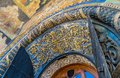 Detail of entrance of the cathedral of the archangel architectural in kremlin Royalty Free Stock Image