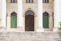 Detail of the entrance of a Venetian villa with stone columns. Royalty Free Stock Photo