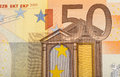 Detail of euro fifty money banknote Stock Photography