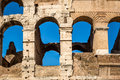 Detail of exterior arched openings / windows at the colosseum in Rome Italy. Royalty Free Stock Photo