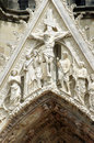 Detail of the facade of the cathedral notre dame de reims france Royalty Free Stock Images