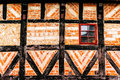 Detail of facade of old house made of wood and bricks in Malmo Royalty Free Stock Photo