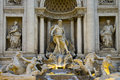 Detail of famous italian fountain in rome the trevi italy Royalty Free Stock Images