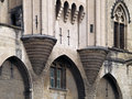 Detail of the famous palais des papes avignon france pope s palace in unesco world heritage site towers above entrance Royalty Free Stock Photos