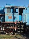Detail of famouse Blue Locomotive of Blue train, Museum Exhibit. Former, obsolete in Belgrade, Serbia.