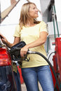 Detail Of Female Motorist Filling Car With Diesel Royalty Free Stock Photo