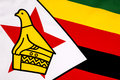 Detail on the flag of zimbabwe national republic formally known as southern rhodesia from to Stock Photo