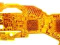 Detail of flexed printed circuit Royalty Free Stock Photo