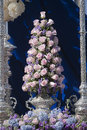 Detail of floral ornamentation on a throne of holy week linares ja�n province spain Stock Photo