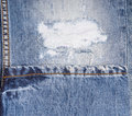 Detail of Frayed Rip in Faded Blue Jeans Royalty Free Stock Photo