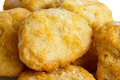 Detail of frozen battered chicken nuggets uncooked Royalty Free Stock Photos