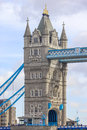 Detail of girders and tower on Tower Bridge from the South Bank. London Royalty Free Stock Photo