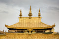 Detail of the golden rooftop from the Jokhang Temple in Lhasa Royalty Free Stock Photography