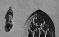 Detail of gothic statue and window in prague on church st maria jeronymus patrons slavics Royalty Free Stock Image
