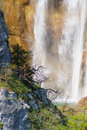 Detail of Great Waterfall on Plitvice Lakes Royalty Free Stock Photo