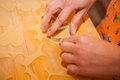 Detail of hands preparing cookies close up homemade linz from dough Royalty Free Stock Photography